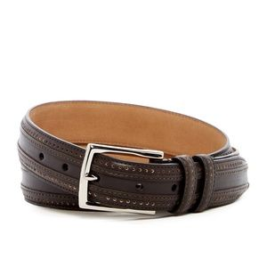 Cole Haan Perforated Dark Roast Leather Belt